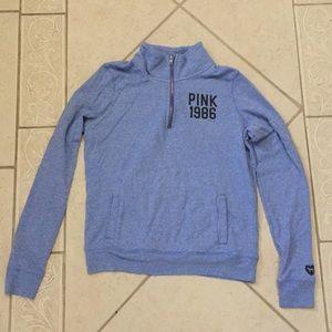 Light blue zip-up crewneck PINK sweater